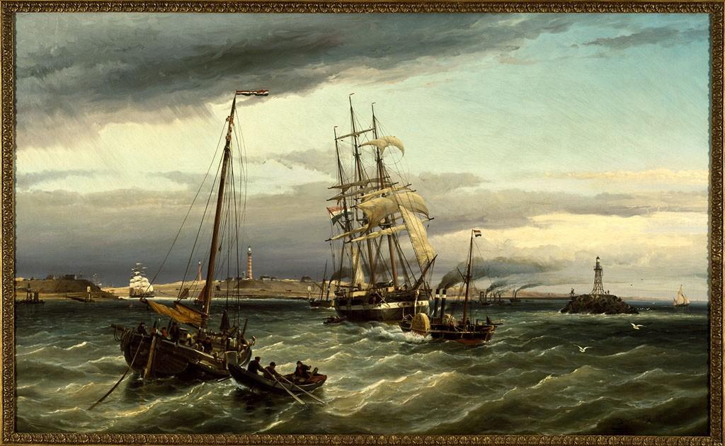 Cornelis Christiaan Dommersen, IJmuiden gezien van het einde der Noordpier, 1878