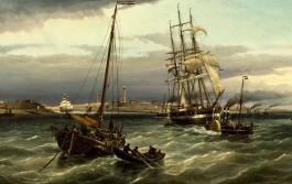 Cornelis Christiaan Dommersen, IJmuiden gezien van het einde der Noordpier, 1878 (detail)