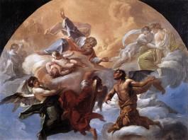 'God en Satan' schilderij door Corrado Giaquinto (Vaticaanse Musea)