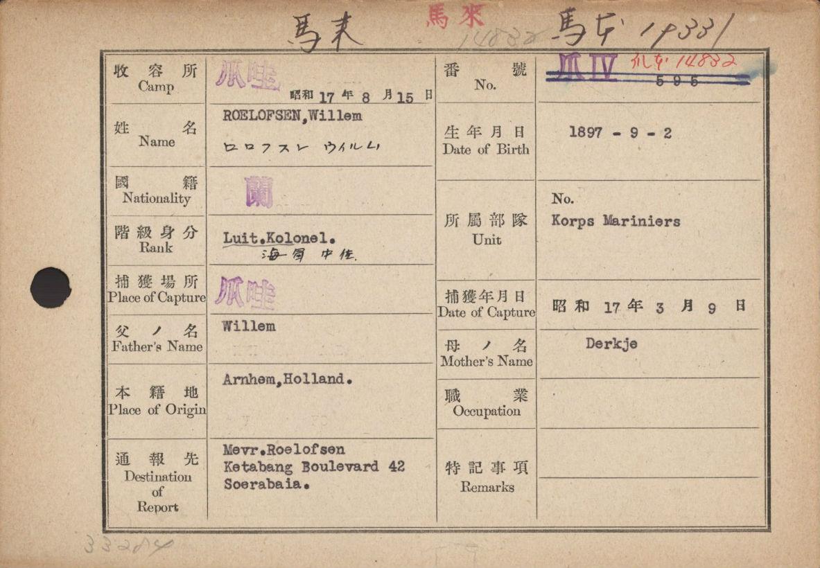 Registratiekaart van de commandant van het Korps Mariniers in Nederlands-Indië Luitenant-kolonel Willem Roelofsen