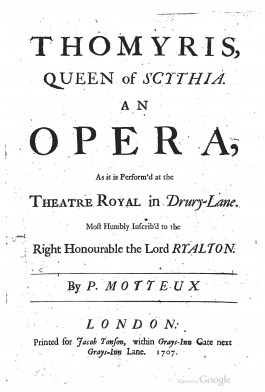 Titelpagina van Peter Motteux, Thomyris, Queen of Scythia, Londen 1707