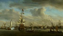 Willem van de Velde (II), De Gouden Leeuw op het IJ voor Amsterdam, 1686