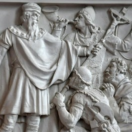 Karel de Grote en Roeland nemen de Saksische onderwerping in ontvangst (Walhalla, Regensburg)