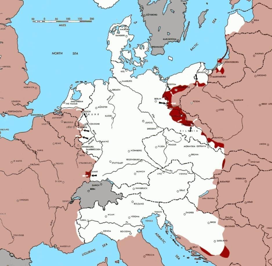 Militaire situatie op 15 februari 1945, vier dagen na het einde van de Conferentie van Jalta