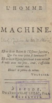 Omslag van het boek L 'homme machine (1747)
