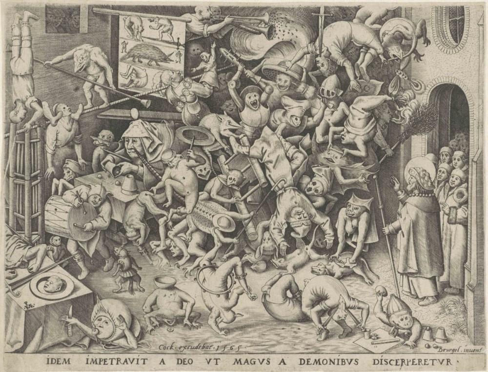 Sint Jacob ontmaskert en overwint hekserij en toverij. Gravure Pieter van der Heyden naar Pieter Bruegel, 1565
