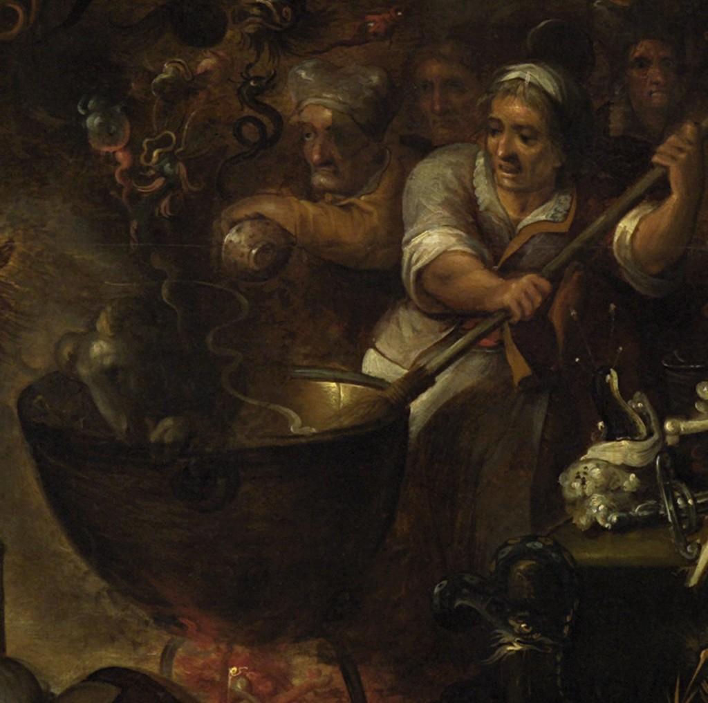 Detail uit Heksenkeuken, Frans Francken II, Kunsthistorisches Museum, Wenen