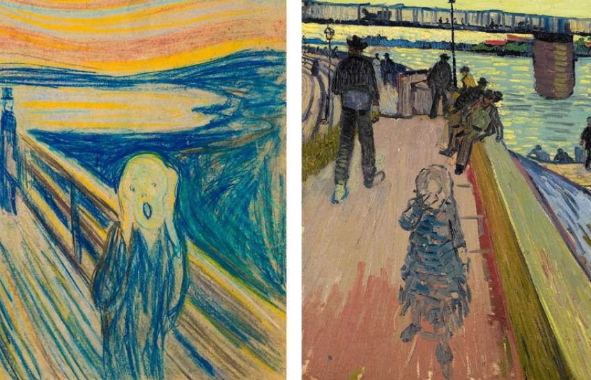 Links: Edvard Munch, De schreeuw, 1893. Munchmuseum, Olso. Rechts: Vincent van Gogh, De brug van Trinquetaille, 1888. Privécollectie