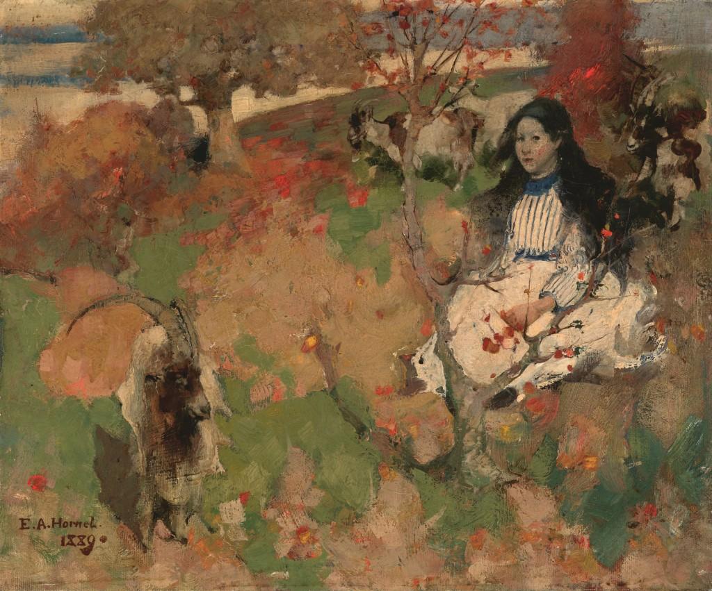 Edward Atkinson Hornel, The Goatherd, olieverf op doek, 1889, Glasgow Museums Kelvingrove