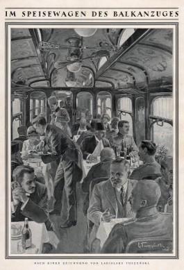 Interieur Balkanzug door Ladislaus Tuszynski, 1918 (coll. Arjan den Boer)