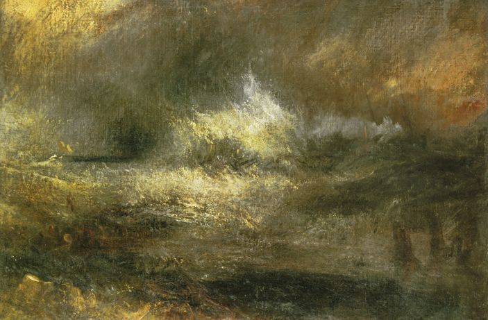 Joseph Mallord William Turner, Stormy Sea with Blazing Wreck © Tate Britain, Londen