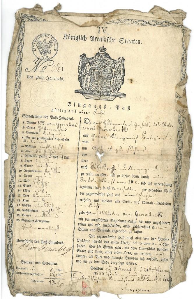 Met deze 'Eingangs-pass' kon de zwerver vrij door Pruisen reizen