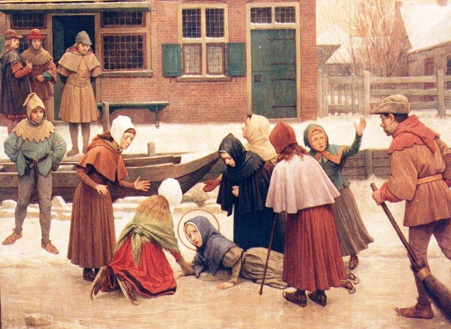 Schilderij van Jan Dunselman. De val van Liduina op het ijs