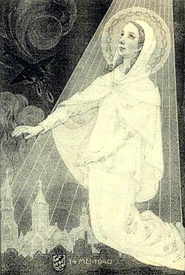 Poster uit 1940: Sint Liduina beschermt kerken tegen bommenwerpers