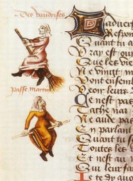Een van de eerste afbeeldingen van heksen die op bezems vlogen dateert van 1451, in een handschrift van Martin Le France (Le Franc), 'Le champion des dames', waar ze als 'Vaudoise' worden aangeduid.