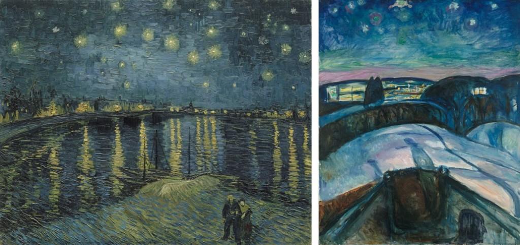 Links: Vincent van Gogh, Sterrennacht boven de Rhône, 1888, Musée d'Orsay, Parijs. Schenking van dhr. en mevr. Robert Kahn-Sriber ter nagedachtenis van dhr. en mevr. Fernand Moch, 1975. Rechts: Edvard Munch, Sterrennacht, 1922. Munchmuseum, Oslo