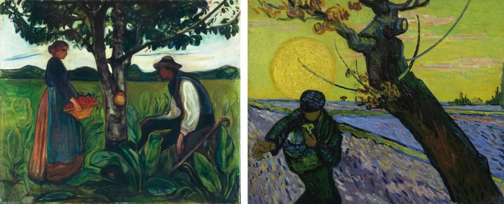 Links: Edvard Munch, Vruchtbaarheid, 1899-1900. Canica kunstcollectie, Oslo. Rechts: Vincent van Gogh, De zaaier, 1888. Van Gogh Museum, Amsterdam. (Vincent van Gogh Stichting)