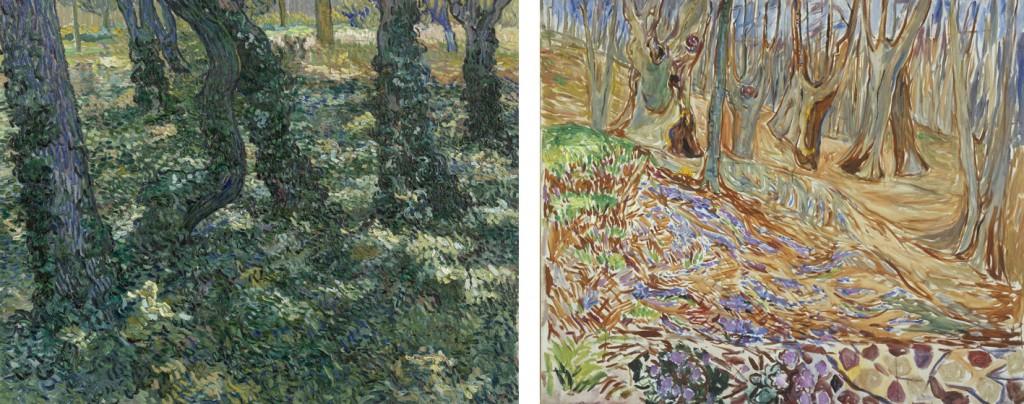 Links: Vincent van Gogh, Kreupelhout, 1889. Van Gogh Museum, Amsterdam (Vincent van Gogh Stichting). Rechts: Edvard Munch, Lente in het iepenbos, ca. 1923. Munchmuseum, Oslo