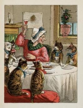 De zeven katten van Juffrouw Ruffel verjagen eerst alle muizen en ratten en na een dag vol avonturen gaan ze met elkaar aan tafel. Jufvrouw Ruffel en hare zeven geleerde poesjes. Utrecht, [ca. 1870]