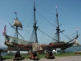 """Een replica van het spiegelretourschip """"Batavia"""", waarvan het origineel in 1628 gebouwd is. Bron: Bataviawerf, Lelystad"""