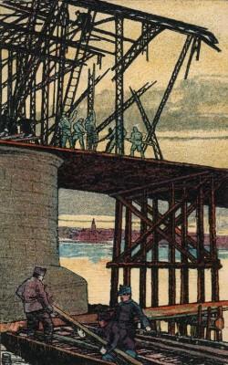 Ansicht Duitse bruggenbouw bij Belgrado, 1916 (collectie Arjan den Boer)