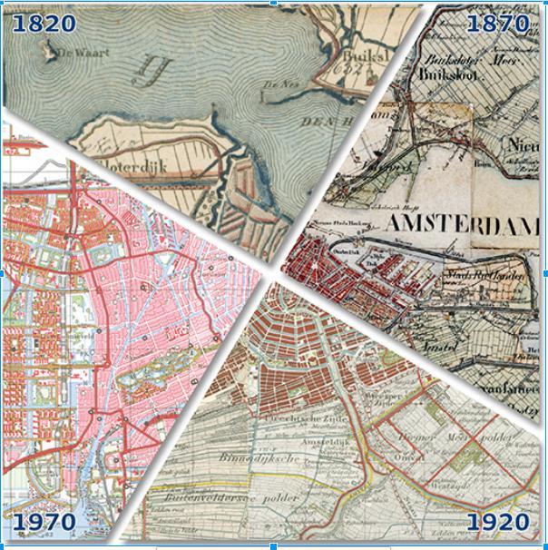 Amsterdam op vier kaarten in één beeld verzameld: 1820: onderdeel van de choro-topographische kaart der Noordelijke Provinciën; 1870: militaire kaart; 1920 en 1970: topografische kaarten.