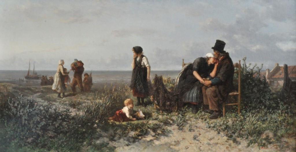 Elchanon Verveer, De terugkeer van de vissersvloot. Vreugde en radeloosheid, ca. 1865-1866. Galerie Nieuw Schoten, Haarlem