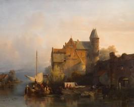 Salomon Verveer, Rivierlandschap met gebouw en waterpoort, 1841. Rijksmuseum Twenthe