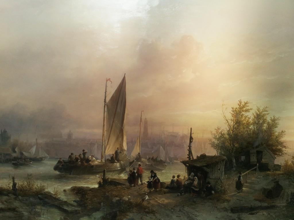 Salomon Verveer, Veerpont op het IJ met Amsterdam in de verte, 1846. Rademakers Collectie. Foto: Bruno Vandermeulen