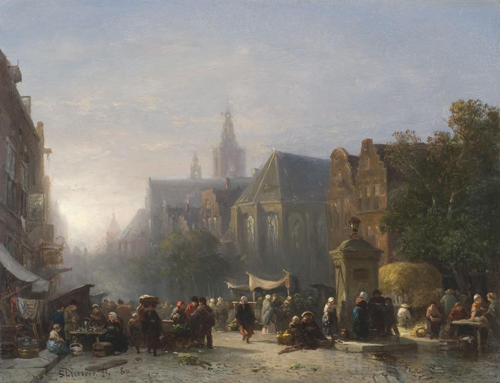 Salomon Verveer, Haags stadsgezicht met de Groenmarkt, 1860. Particuliere collectie