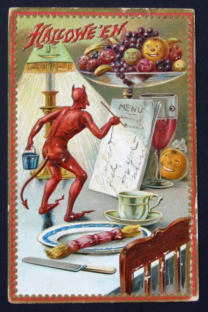Duivel schrijft menukaart voor Halloween
