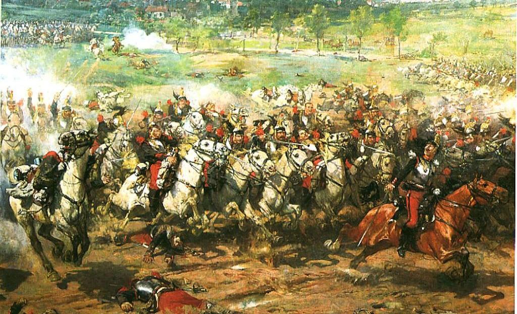 De Pruisische kurassiers vallen de Franse kanonnen aan tijdens de Slag bij Mars-la-Tour op 16 augustus 1870