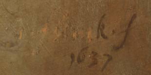 Govert Flinck, Portret van een 44-jarige man, 1637. Mauritshuis Den Haag. (detail) de aangepaste signatuur