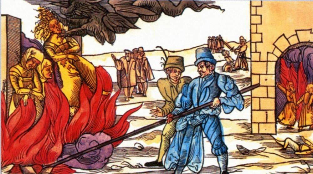 Heksen op de brandstapel uit de Heksenhamer