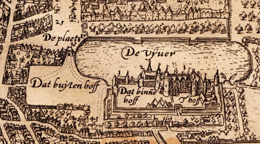 Het Binnenhof en omgeving aan het eind van de zestiende eeuw