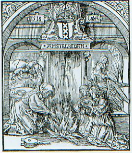 Het Mirakel van Amsterdam, afgebeeld op een bedevaartprentje uit 1518 van de hand van Jacob Cornelisz. van Oostsanen.