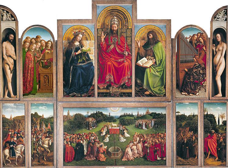 Eén van de beroemdste schilderijen ter wereld, het panelenwerk 'Het Lam Gods' van de gebroeders Van Eyck (1432), wordt in het MSK Gent gerestaureerd.