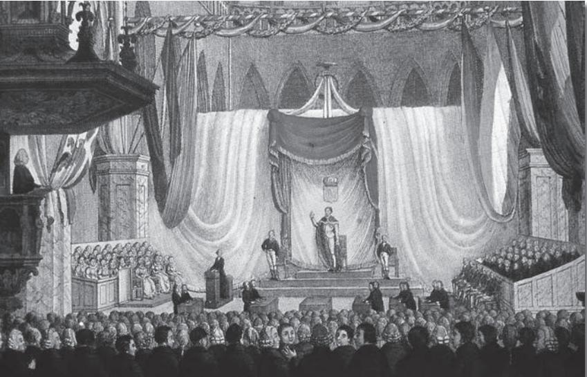 Inhuldiging van Willem I als soeverein vorst in de Nieuwe Kerk te Amsterdam op 30 maart 1814.