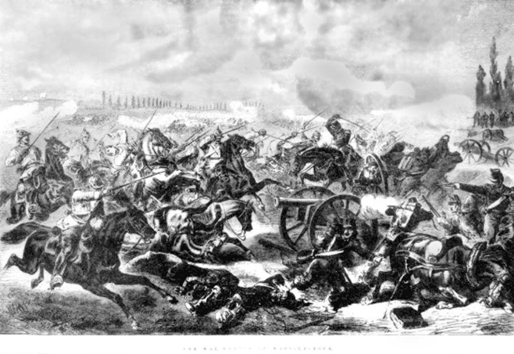 Pruisische kurassiers vallen de Franse kanonnen aan tijdens de Slag bij Mars-la-Tour op 16 augustus 1870.