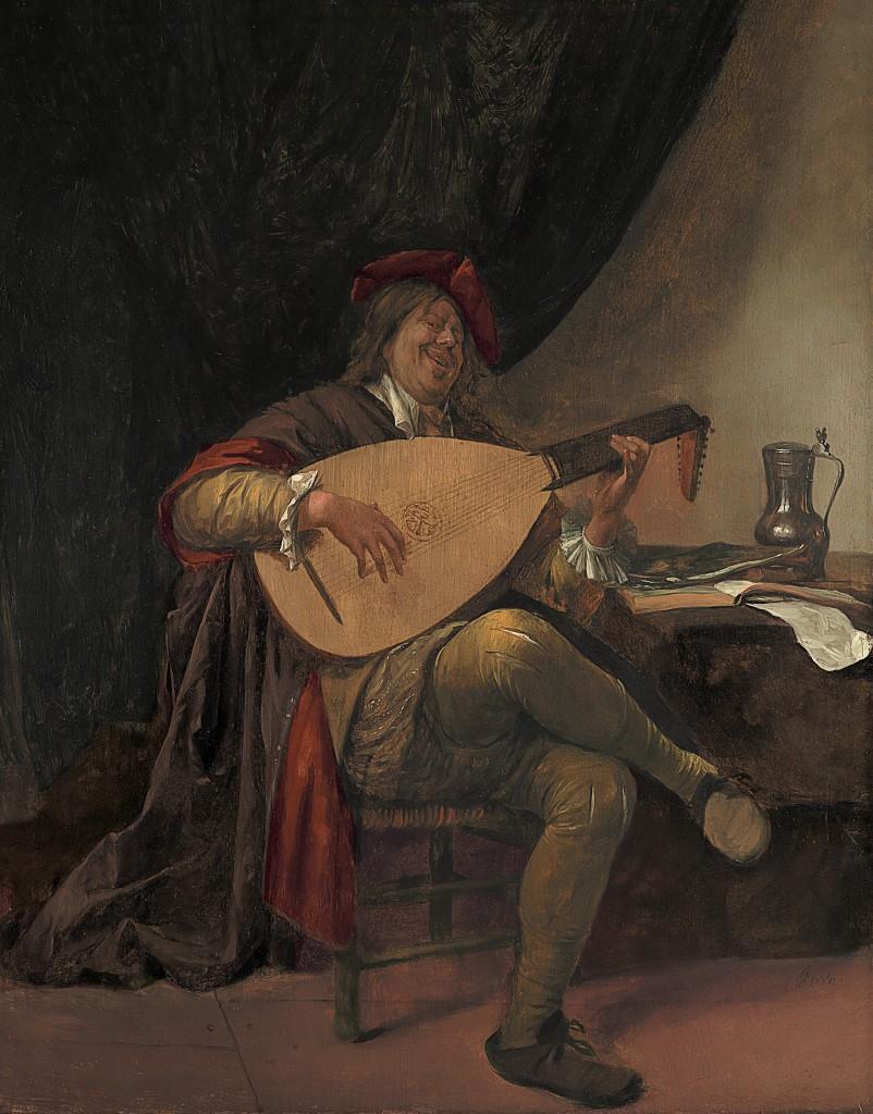 Jan Steen (Leiden 1626-1679 Leiden) - Zelfportret als luitspeler, c.1663/65 -  Museo Thyssen-Bornemisza, Madrid