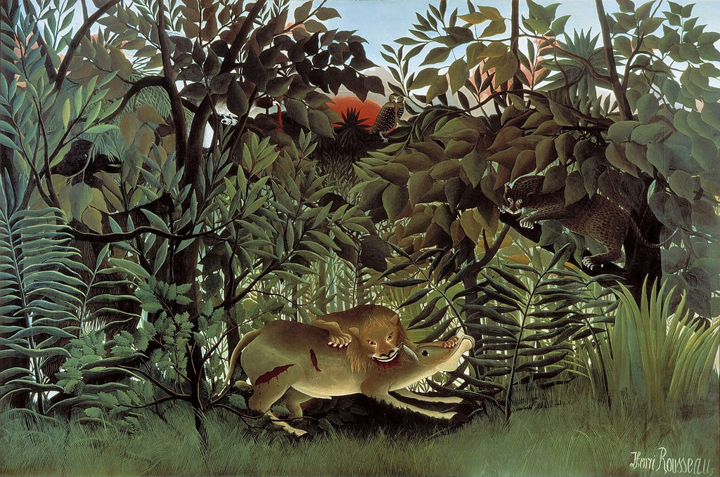 The Hungry Lion Throws Itself on the Antelope, 1905 van Henri Rousseau