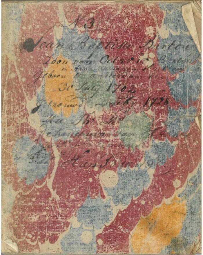 Voorkant van het dagboekje van de familie Barbou, begonnen in 1718
