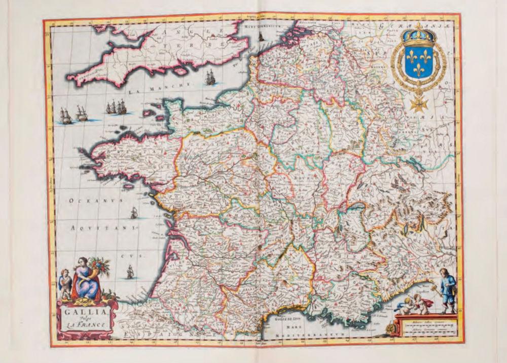 Kaart van Frankrijk uit deel VII (Frankrijk en Zwitserland) van Blaeus Atlas Maior (1662); luxe deel met eigentijdse band van rood fluweel; luxe uitgeversinkleuring van Blaeu, mogelijk verzorgd door Koerten.