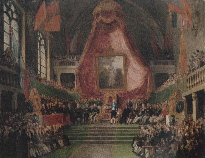De plechtige installatie van de Universiteit Van Gent in 1817 door kroonprins Willem II. - Schilderij M.I. va Bree, Rijksmuseum)