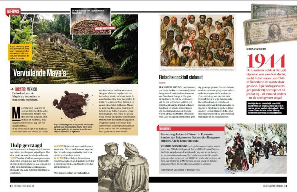 Nieuwspagina in het vernieuwde Historisch Nieuwsblad