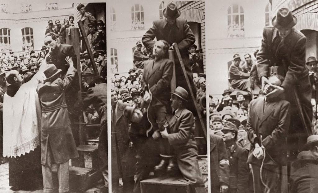 Ferenc Szálasi wordt, na de laatste religieuze rites, opgehangen in Boedapest in 1946. Bron: rarehistoricalphotos.com (copyrightvrij mits de website wordt vermeld).