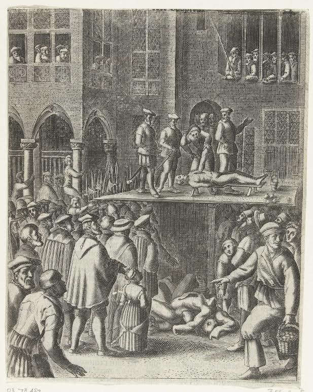Terechtstelling van wederdopers op de Dam, 1535. Door Barend Direcksz. 1612-1614. Bron: Rijksmuseum.
