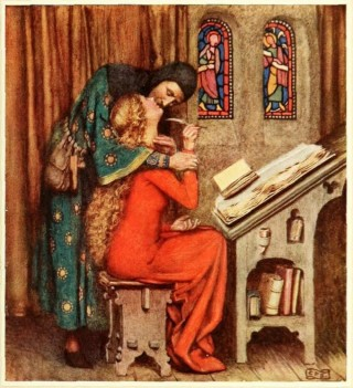 Heloïse en Abélard. Schilderij van Eleanor Fortescue-Brickdale uit 1919. Bron: www.globallovemuseum.net