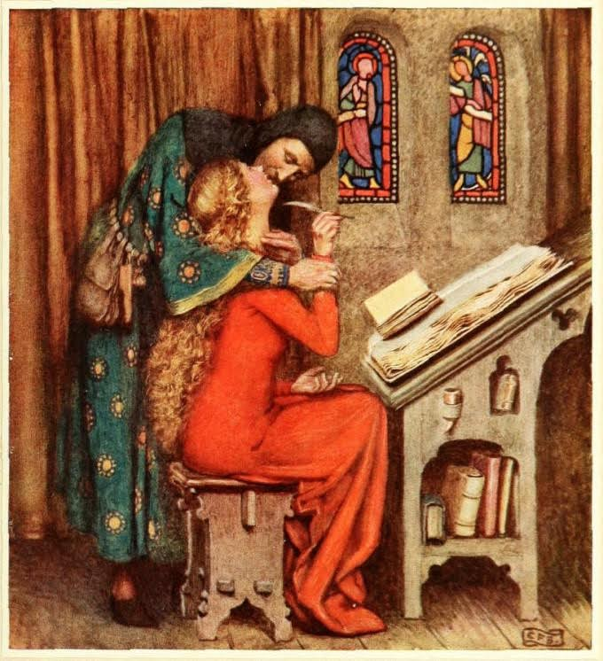 Héloïse en Abélard. Schilderij van Eleanor Fortescue-Brickdale uit 1919. Bron: www.globallovemuseum.net