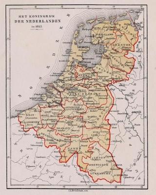 Nieuwe Kaart van het Koningrijk der Nederlanden in 1815.